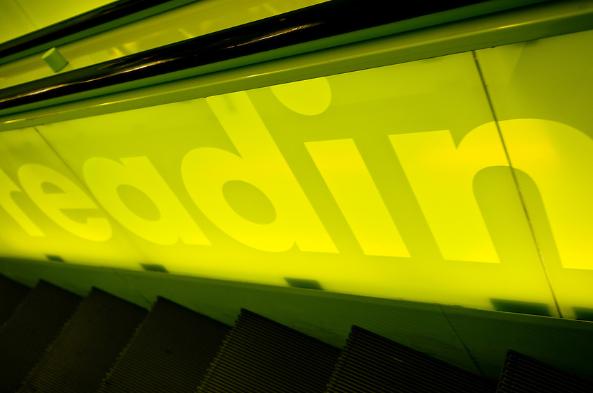 Downtown Seattle Public Library building interior escalator detail photo. The building architect was Rem Koolhas. Photograph by Robert Wade.