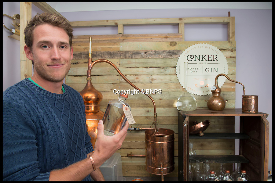 BNPS.co.uk (01202 558833)<br /> Pic: LauraDale/BNPS<br /> <br /> Rupert Holloway in his distillery, set up in his home's study.<br /> <br /> A canny entrepreneur has launched Britain's smallest commercial gin distillery - after setting it up in the confines of his own kitchen.<br /> <br /> Rupert Holloway packed in his high-flying job as a chartered surveyor to start producing the trendy spirit one bottle at a time at his home in Christchurch, Dorset.<br /> <br /> His miniature distillery is the first ever to open in the county - and his unique recipe uses botanicals found in the hedgerows, forests and coastline of the county.<br /> <br /> He experimented with 37 recipes before settling on one made with gorse flowers and elderberriers hand-picked from the New Forest, and samphire, a sea vegetable, from the sea shore.<br /> <br /> The gin, called Conker Spirit, will be launched in time for Christmas and it is expected to sell for &pound;30 a bottle.