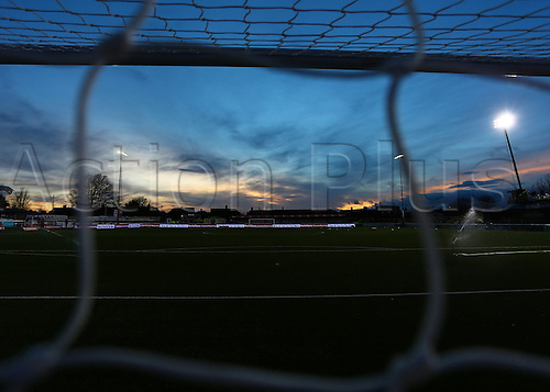 February 20th 2017, The Borough Sports Ground, Sutton, Surrey, England; FA Cup 5th Round football, Sutton United versus Arsenal FC; The Borough Sports Ground prepares for the match, as the sun sets over London