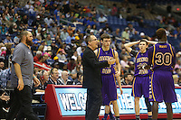 Aransas Pass Panthers head coach Glen Hayes talks to his team during a timeout in the second half of the Class 3A boys state semifinal game between Aransas Pass and Brownfield at the Alamodome in San Antonio on Thursday, March 10, 2016.