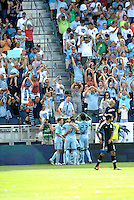 Kansas City players and fans celebrate the second goal... Sporting Kansas City defeated San Jose Earthquakes 2-1 at LIVESTRONG Sporting Park, Kansas City, Kansas.