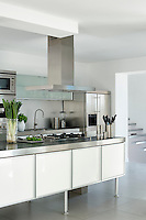 In the modern, sleek kitchen the combination of white lacquer, frosted glass and stainless steel is both stylish and practical.