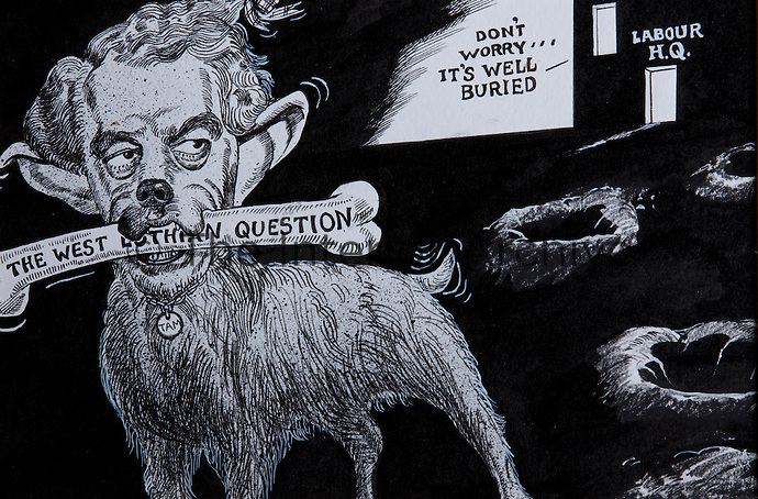 Tam, ensuring that Scottish independence remains a bone of contention, a 1980s cartoon by Griffin in the Guardian