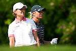 TAOYUAN, TAIWAN - OCTOBER 22: Suzann Pettersen (R) of Norway and Catriona Matthew of Scotland stand on the 9th tee during day three of the LPGA Imperial Springs Taiwan Championship at Sunrise Golf Course on October 22, 2011 in Taoyuan, Taiwan. Photo by Victor Fraile / The Power of Sport Images