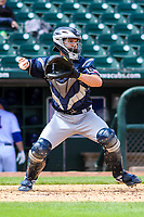 San Antonio Missions catcher Tuffy Gosewisch (3) throws down to second base between innings during a Pacific Coast League game against the Iowa Cubs on May 2, 2019 at Principal Park in Des Moines, Iowa. Iowa defeated San Antonio 8-6. (Brad Krause/Four Seam Images)