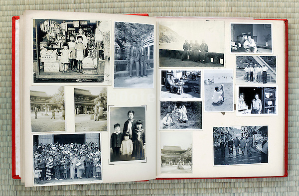 open page of an old family photo album Japan Asia 1950s 1960s