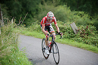 Tim Wellens (BEL/Lotto-Belisol) places a decisive (winning) attack on the C&ocirc;te de Niaster (1800m/7.7%).<br /> Nobody is able to follow him.<br /> <br /> Eneco Tour 2014<br /> stage 6: Heerlen - La Redoute (Aywaille)