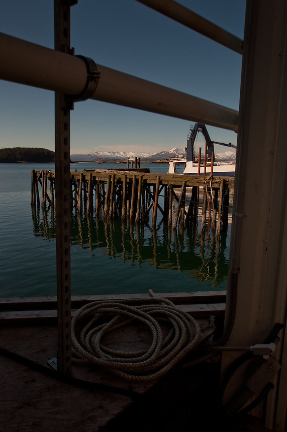Pier and Mountains, Kodiak Island, Alaska, US