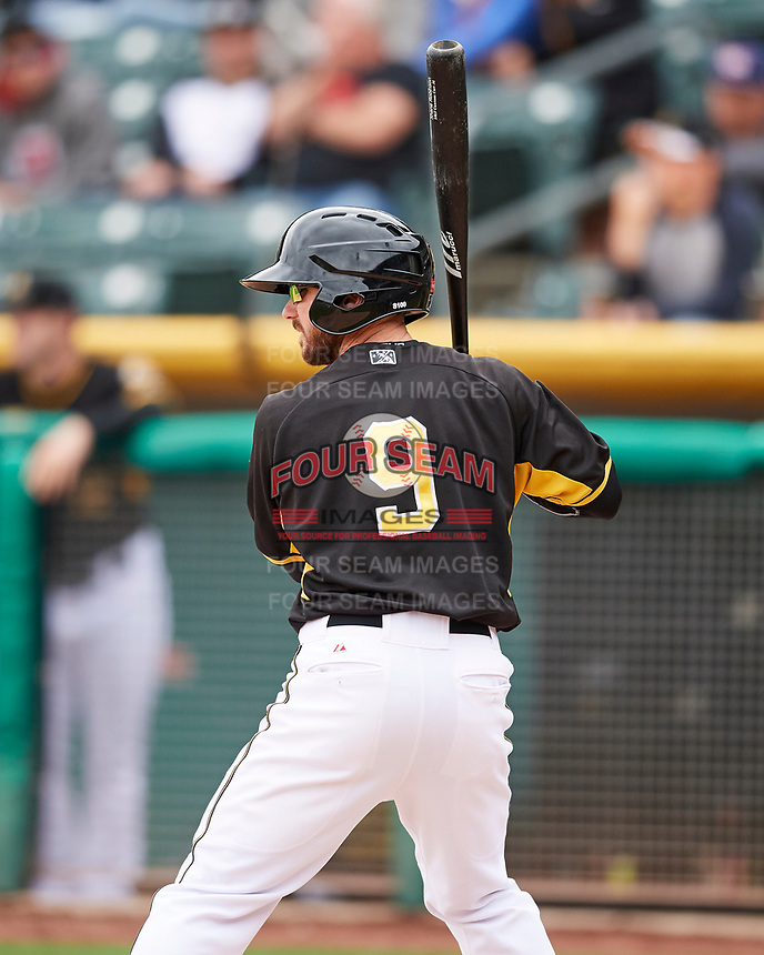 Shane Robinson (9) of the Salt Lake Bees at bat against the El Paso Chihuahuas in Pacific Coast League action at Smith's Ballpark on April 30, 2017 in Salt Lake City, Utah. El Paso defeated Salt Lake 12-3. This was Game 2 of a double-header originally scheduled on April 28, 2017. (Stephen Smith/Four Seam Images)
