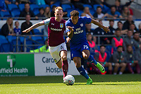 Glenn Whelan of Aston Villa and Nathaniel Mendez-Laing of Cardiff City during the Sky Bet Championship match between Cardiff City and Aston Villa at the Cardiff City Stadium, Cardiff, Wales on 12 August 2017. Photo by Mark  Hawkins / PRiME Media Images.