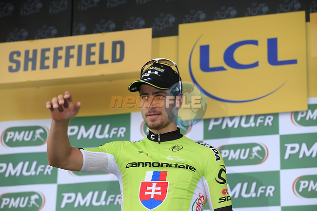 Peter Sagan (SVK) Cannondae retains the sprinter's Green Jersey at the end of Stage 2 of the 2014 Tour de France running 200km from York to Sheffield. 6th July 2014.<br /> Picture: Eoin Clarke www.newsfile.ie