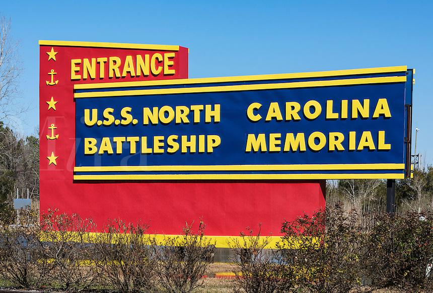 Entrance to the museum battleship USS North Carolina, Wilmington, North Carolina, USA