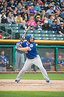 Chris Heisey (28)of the Oklahoma City Dodgers at bat against the Salt Lake Bees in Pacific Coast League action at Smith's Ballpark on May 25, 2015 in Salt Lake City, Utah.  (Stephen Smith/Four Seam Images)