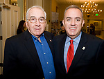 SOUTHBURY, CT-012318JS22--Joseph Berthal of Watertown, left, with his son, State Senator Eric Berthel (R-32) at the Waterbury Regional Chamber's Legislative and Economic Summit held at the Wyndham Southbury. Sen. Berthal was named Legislator of the Year during the event. <br /> Jim Shannon Republican-American