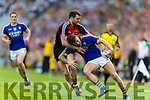 Barry John Keane Kerry in action against Chris Barrett Mayo in the All Ireland Semi Final Replay in Croke Park on Saturday.