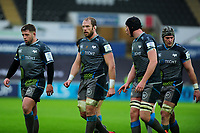 Alun Wyn Jones (centre) of Ospreys in action during the Heineken Champions Cup Round 5 match between the Ospreys and Saracens at the Liberty Stadium in Swansea, Wales, UK. Saturday January 11 2020.