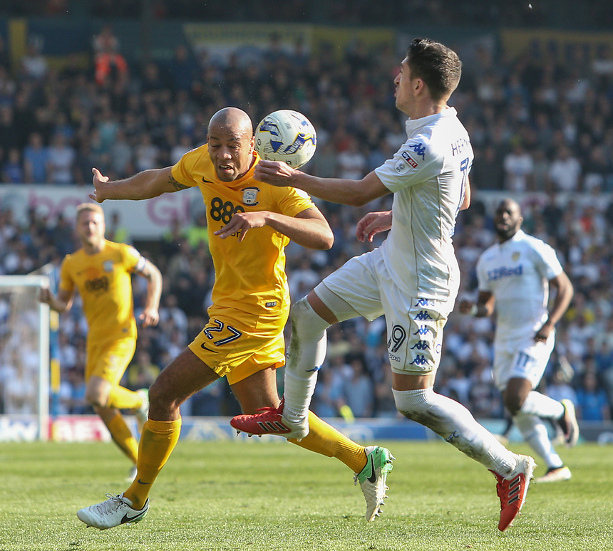 Preston North End's Alex John-Baptiste battles with Leeds United's Pablo Hernandez<br /> <br /> Photographer Alex Dodd/CameraSport<br /> <br /> The EFL Sky Bet Championship - Leeds United v Preston North End - Saturday 8th April 2017 - Elland Road - Leeds<br /> <br /> World Copyright &copy; 2017 CameraSport. All rights reserved. 43 Linden Ave. Countesthorpe. Leicester. England. LE8 5PG - Tel: +44 (0) 116 277 4147 - admin@camerasport.com - www.camerasport.com