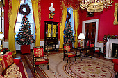 """Decorations in the Red Room on the State Floor as part of the 2015 White House Christmas theme """"A Timeless Tradition"""" at the White House in Washington, DC on Wednesday, December 2, 2015. <br /> Credit: Ron Sachs / CNP"""