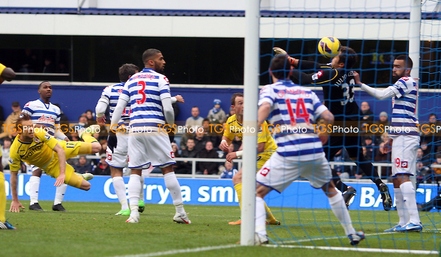 Kaspars Gorkss scores the 1st goal for Reading - Queens Park Rangers vs Reading, Barclays Premier League at Loftus Road, London - 04/11/12 - MANDATORY CREDIT: Rob Newell/TGSPHOTO - Self billing applies where appropriate - 0845 094 6026 - contact@tgsphoto.co.uk - NO UNPAID USE.