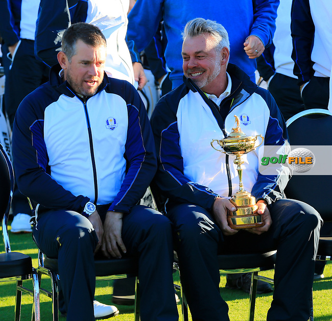 Captain Darren Clarke and Lee Westwood (ENG) European Team photo shoot during Tuesday's Practice Day of the 41st Ryder Cup held at Hazeltine National Golf Club, Chaska, Minnesota, USA. 27th September 2016.<br /> Picture: Eoin Clarke | Golffile<br /> <br /> <br /> All photos usage must carry mandatory copyright credit (&copy; Golffile | Eoin Clarke)