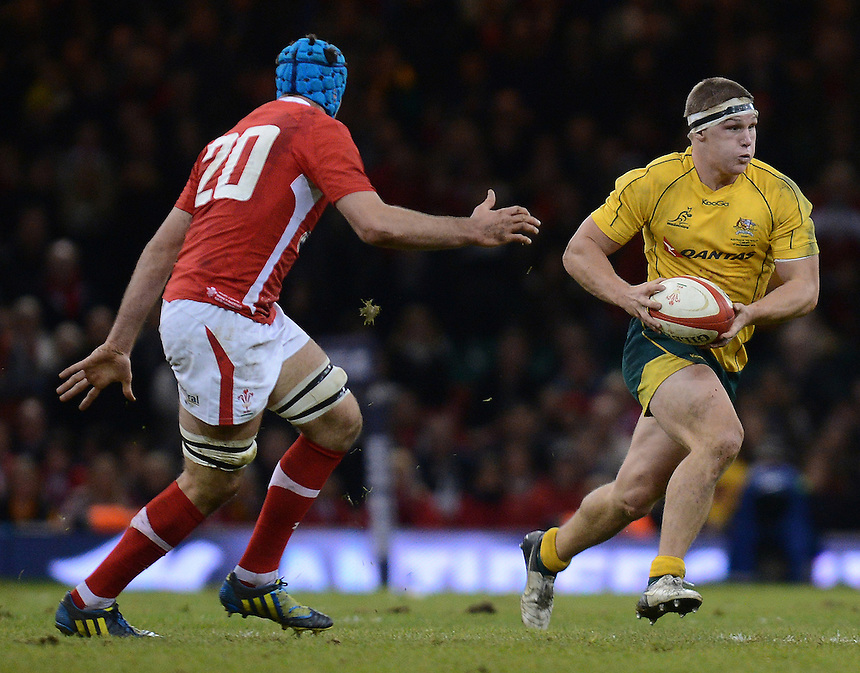 Australia's Michael Hooper on the charge..International Rugby Union - Wales v Australia - Saturday 1st December 2012 - Millennium Stadium - Cardiff....
