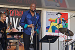 Trumpeter Sean Jones headlined the New Brunswick leg of the Central Jersey Jazz Festival on September 19, 2015. Sean was joined by Orrin Evans on piano, Luques Curtis on bass and Mark Whitfield, Jr. on drums. The quartet played before an enthusiastic crowd of thousands in Monument Square at George Street and Livingston Avenue in the heart of downtown New Brunswick, NJ.