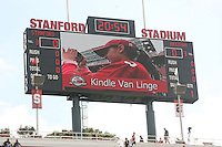 14 October 2006: Kindle Van Linge, the HP Junior Photographer marketing winner, on the scoreboard during Stanford's 20-7 loss to Arizona during Homecoming at Stanford Stadium in Stanford, CA.