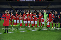 Carrie Thompson from Swansea sings the National anthem at the Wales v Finland Vauxhall International friendly football match at the Cardiff City stadium, Cardiff, Wales. Photographer - Jeff Thomas Photography. Mob 07837 386244. All use of pictures are chargeable.