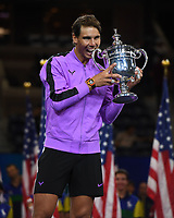 FLUSHING NY- SEPTEMBER 08: Rafael Nadal poses with the championship trophy after defeating Daniil Medvedev during the men's finals on Arthur Ashe Stadium at the USTA Billie Jean King National Tennis Center on September 8, 2019 in Flushing Queens. <br /> CAP/MPI04<br /> ©MPI04/Capital Pictures