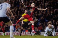 LONDON, ENGLAND - MARCH 04: Jonjo Shelvey of Swansea City watches his strike miss it's target during the Premier League match between Tottenham Hotspur and Swansea City at White Hart Lane on March 4, 2015 in London, England.  (Photo by Athena Pictures )