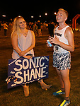 Shane Helton (13) after running for on the Nevada Men's Cross Country team which competed for the first time in 25 years in the Bonanza Casino Nevada Twilight Classic season opener at Mira Loma Park in Reno on Friday night, August 30, 2019.