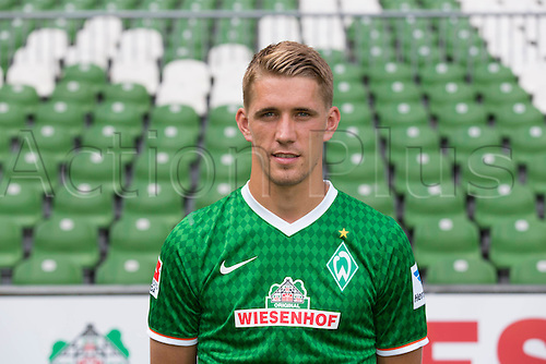 29.07.2013. Bremen, Germany.  The picture shows German Soccer Bundesliga club SV Werder Bremen's Nils Petersen during the official photocall for the season 2013-14 in Bremen.
