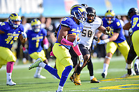 Newark, DE - OCT 29, 2016: Delaware Fightin Blue Hens defensive back Nasir Adderley (23) runs the ball during game between Towson and Delaware at Delaware Stadium Tubby Raymond Field in Newark, DE. (Photo by Phil Peters/Media Images International)