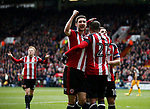 Leon Clarke of Sheffield Utd celebrates his second goal with the provider Billy Sharp of Sheffield Utd during the English League One match at Bramall Lane Stadium, Sheffield. Picture date: April 17th 2017. Pic credit should read: Simon Bellis/Sportimage