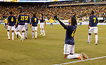 Colombian player Juan Cuadrado (4) celebrates his goal against Brazil, during their friendly match at MetLife Stadium in East Rutherford New Jersey, November 14, 2012. Photo by Eduardo Munoz Alvarez / VIEWpress.