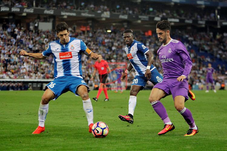 League Santander 2016/2017. Game: 4.<br /> RCD Espanyol vs R. Madrid: 0-2.<br /> Javi Lopez, Pape Diop &amp; Francisco Alarcon 'Isco'.