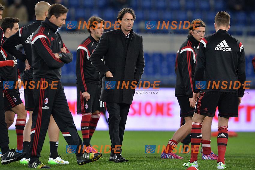 Filippo Inzaghi, allenatore del Milan.<br /> Roma 24-01-2015 Stadio Olimpico. Football Calcio 2014/2015 Serie A. Lazio - Milan. Foto Antonietta Baldassarre / Insidefoto