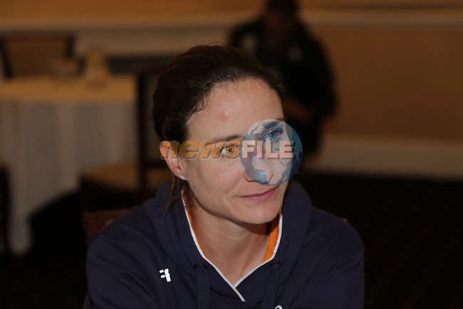 Marianne Vos (NED) at the Dutch Federation press conference during the Men U23 Road Race of the UCI World Championships 2019 running 186.9km from Doncaster to Harrogate, England. 27th September 2019.<br /> Picture: Eoin Clarke | Cyclefile<br /> <br /> All photos usage must carry mandatory copyright credit (© Cyclefile | Eoin Clarke)