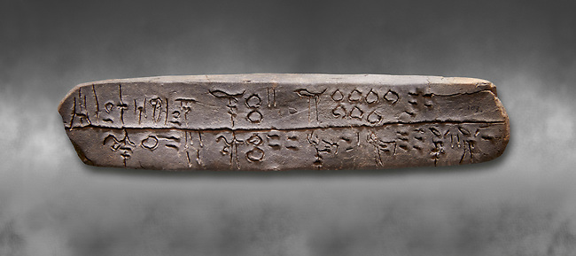 """Minoan linea A tablet recording flocks of sheep, goats, oxen and pigs at """"si-ra-ro"""",  1800-1450 BC, Heraklion Archaeological  Museum, grey background."""