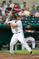San Antonio Missions catcher Austin Hedges (21) at bat in the Texas League baseball game against the Frisco Roughriders on August 22, 2013 at the Nelson Wolff Stadium in San Antonio, Texas. Frisco defeated San Antonio 2-1. (Andrew Woolley/Four Seam Images)