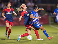 Boyds, MD - April 16, 2016: Boston Breakers midfielder Kyah Simon (17) and Washington Spirit defender Megan Oyster (4). The Washington Spirit defeated the Boston Breakers 1-0 during their National Women's Soccer League (NWSL) match at the Maryland SoccerPlex.