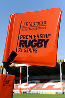 20130801 Copyright onEdition 2013 ©<br /> Free for editorial use image, please credit: onEdition.<br /> <br /> Detail of JP Morgan branding on a corner flag during the J.P. Morgan Asset Management Premiership Rugby 7s Series.<br /> <br /> The J.P. Morgan Asset Management Premiership Rugby 7s Series kicks off for the fourth season on Thursday 1st August with Pool A at Kingsholm, Gloucester with Pool B being played at Franklin's Gardens, Northampton on Friday 2nd August, Pool C at Allianz Park, Saracens home ground, on Saturday 3rd August and the Final being played at The Recreation Ground, Bath on Friday 9th August. The innovative tournament, which involves all 12 Premiership Rugby clubs, offers a fantastic platform for some of the country's finest young athletes to be exposed to the excitement, pressures and skills required to compete at an elite level.<br /> <br /> The 12 Premiership Rugby clubs are divided into three groups for the tournament, with the winner and runner up of each regional event going through to the Final. There are six games each evening, with each match consisting of two 7 minute halves with a 2 minute break at half time.<br /> <br /> For additional images please go to: http://www.w-w-i.com/jp_morgan_premiership_sevens/<br /> <br /> For press contacts contact: Beth Begg at brandRapport on D: +44 (0)20 7932 5813 M: +44 (0)7900 88231 E: BBegg@brand-rapport.com<br /> <br /> If you require a higher resolution image or you have any other onEdition photographic enquiries, please contact onEdition on 0845 900 2 900 or email info@onEdition.com<br /> This image is copyright the onEdition 2013©.<br /> <br /> This image has been supplied by onEdition and must be credited onEdition. The author is asserting his full Moral rights in relation to the publication of this image. Rights for onward transmission of any image or file is not granted or implied. Changing or deleting Copyright information is illegal as specified in the Copyright, Design and Patents Act 1988. If you are in any way unsure of your right to publish this image please contact onEditio