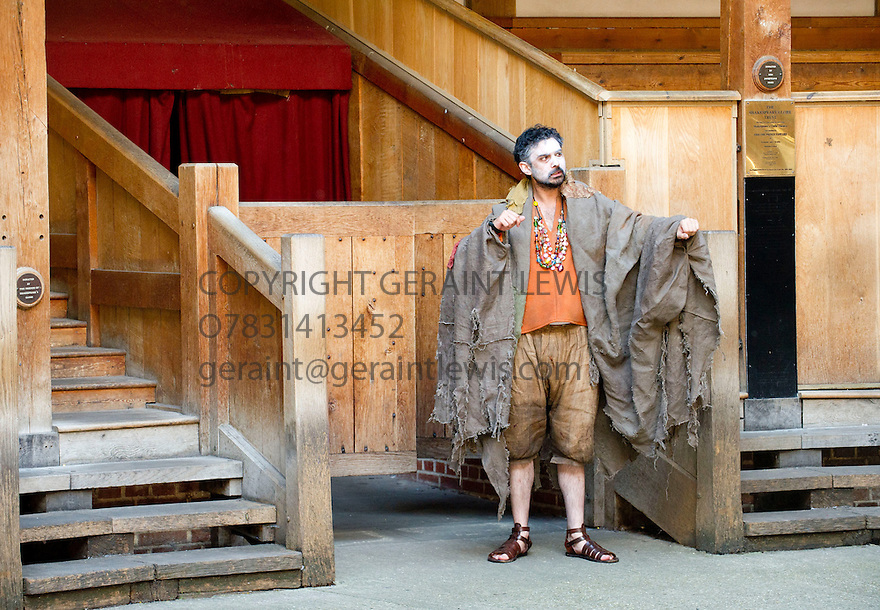 Julius Caesar by William Shakespeare. A Shakespeare's Globe Production directed by Dominic Dromgoogle. With Tom Kanji as Soothsayer. Opens at Shakespeare's Globe Theatre on 2/7/14  pic Geraint Lewis