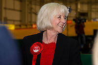Pictured: Labour's candidate Ruth Jones during the Newport West by-election ballot count at the Geraint Thomas National Velodrome of Wales in Newport, South Wales, UK. Friday 05 April 2019<br /> Re: Voters in Newport West are going to the polls to elect a new member of Parliament.<br /> The seat in south east Wales became vacant following the death of Paul Flynn earlier in February.