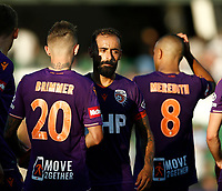 11th January 2020; HBF Park, Perth, Western Australia, Australia; A League Football, Perth Glory versus Adelaide United; Diego Castro of Perth Glory congratulates his players on a 3-0 win over Adelaide United - Editorial Use