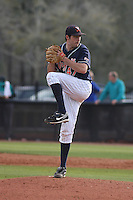 University of Virginia pitcher Whit Mayberry #47 on the mound during a game against the Coastal Carolina Chanticleers at Watson Stadium at Vrooman Field on February 18, 2012 in Conway, SC.  Virginia defeated Coastal Carolina 9-3. (Robert Gurganus/Four Seam Images)