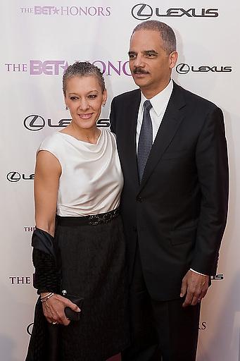 Slug: 2011 BET Honors.Date: 01-16-2011.Photographer: Mark Finkenstaedt.Location:  Wagner Theater, Washington DC.Caption:  2010 BET Honors - Wagner Theater Washington DC.U.S. Attorney General Eric Holder with his wife.
