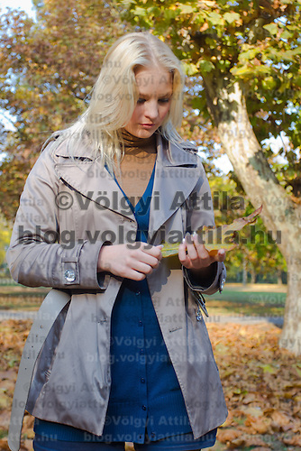 Autumn photos with model Anna Magyar in Budapest, Hungary on November 05, 2011. ATTILA VOLGYI
