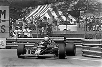 DETROIT, MI - JUNE 23: Ayrton Senna drives the Lotus 97T/Renault EF15 during the Detroit Grand Prix FIA Formula One World Championship race at the Detroit Street Circuit in Detroit, Michigan, on June 23, 1985.