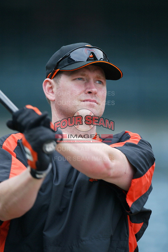Aubrey Huff of the Baltimore Orioles during batting practice before a game from the 2007 season at Angel Stadium in Anaheim, California. (Larry Goren/Four Seam Images)